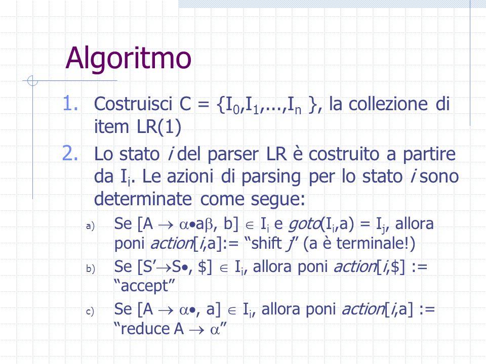 Costruzione della tabella LR Il procedimento è lo stesso che per la costruzione della tabellaSLR, anzi, è più semplice: per le riduzioni dobbiamo guar