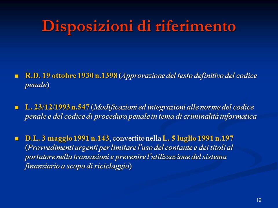12 Disposizioni di riferimento R.D. 19 ottobre 1930 n.1398 (Approvazione del testo definitivo del codice penale) R.D. 19 ottobre 1930 n.1398 (Approvaz