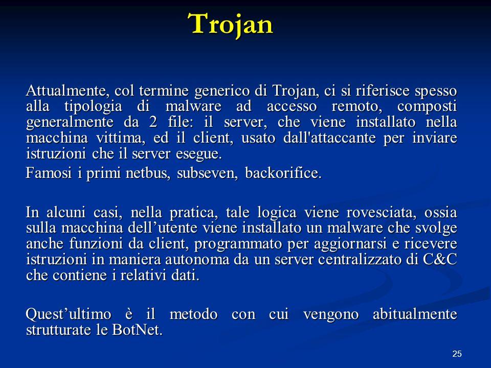 25 Attualmente, col termine generico di Trojan, ci si riferisce spesso alla tipologia di malware ad accesso remoto, composti generalmente da 2 file: i
