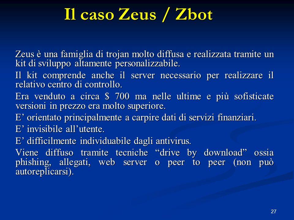 27 Zeus è una famiglia di trojan molto diffusa e realizzata tramite un kit di sviluppo altamente personalizzabile. Il kit comprende anche il server ne