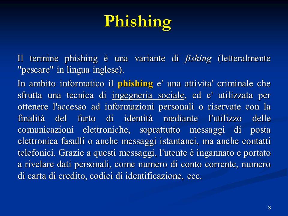 3 Il termine phishing è una variante di fishing (letteralmente