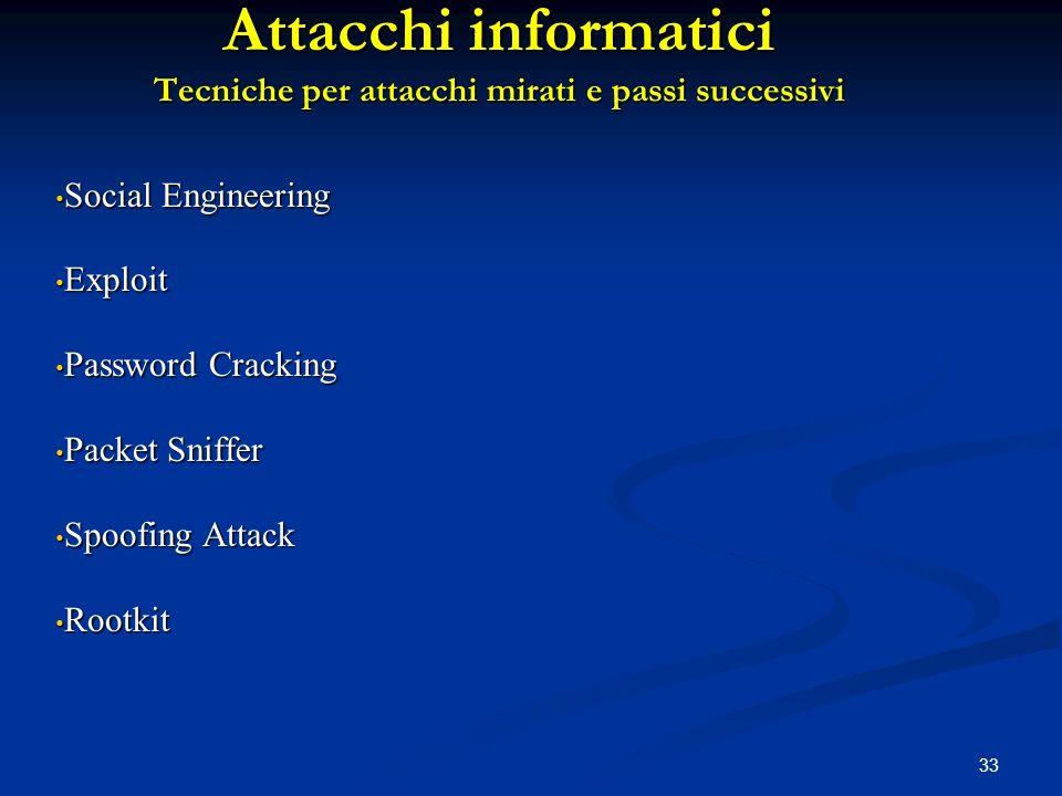 33 Attacchi informatici Tecniche per attacchi mirati e passi successivi Social Engineering Social Engineering Exploit Exploit Password Cracking Passwo