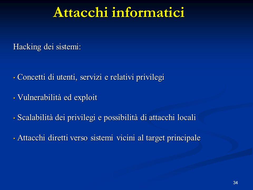 34 Attacchi informatici Hacking dei sistemi: Concetti di utenti, servizi e relativi privilegi Concetti di utenti, servizi e relativi privilegi Vulnera