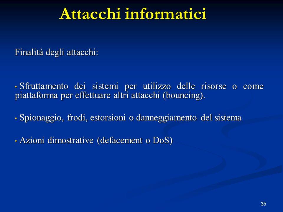 35 Attacchi informatici Finalità degli attacchi: Sfruttamento dei sistemi per utilizzo delle risorse o come piattaforma per effettuare altri attacchi