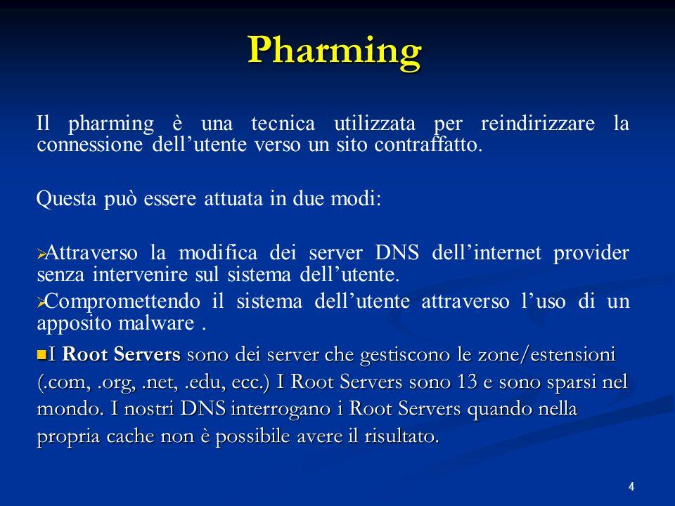 4 Il pharming è una tecnica utilizzata per reindirizzare la connessione dellutente verso un sito contraffatto. Questa può essere attuata in due modi: