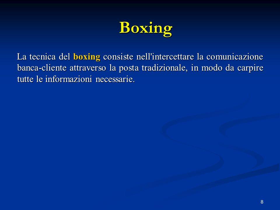 8 La tecnica del boxing consiste nell'intercettare la comunicazione banca-cliente attraverso la posta tradizionale, in modo da carpire tutte le inform