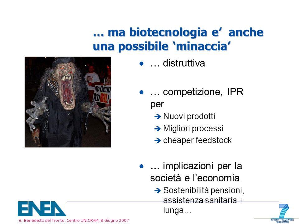 S. Benedetto del Tronto, Centro UNICRAM, 8 Giugno 2007 … ma biotecnologia e anche una possibile minaccia l … distruttiva l … competizione, IPR per è N