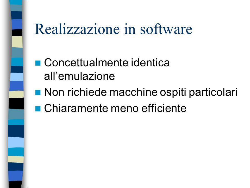 Realizzazione in firmware Si realizzano le strutture dati e gli algoritmi mediante microprogrammi su una macchina (ospite) microprogrammabile I microp