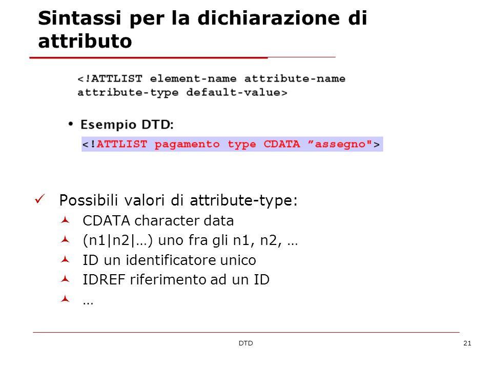 DTD21 Sintassi per la dichiarazione di attributo Possibili valori di attribute-type: CDATA character data (n1|n2|…) uno fra gli n1, n2, … ID un identificatore unico IDREF riferimento ad un ID …