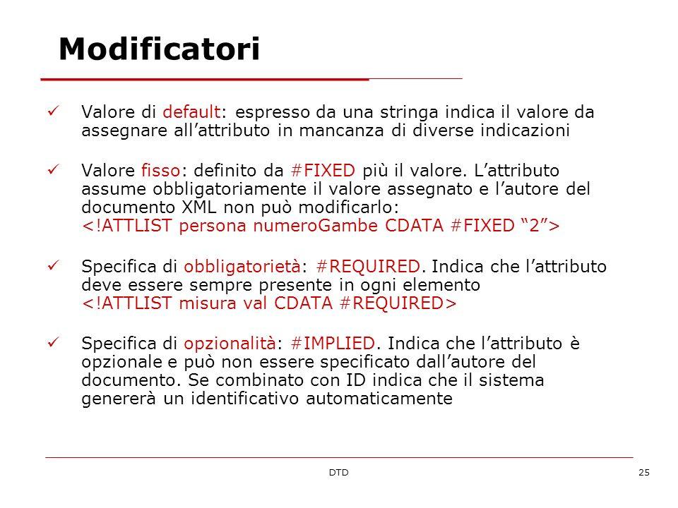 DTD25 Modificatori Valore di default: espresso da una stringa indica il valore da assegnare allattributo in mancanza di diverse indicazioni Valore fis