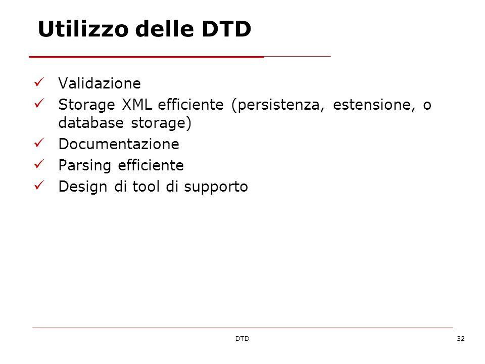 DTD32 Utilizzo delle DTD Validazione Storage XML efficiente (persistenza, estensione, o database storage) Documentazione Parsing efficiente Design di tool di supporto