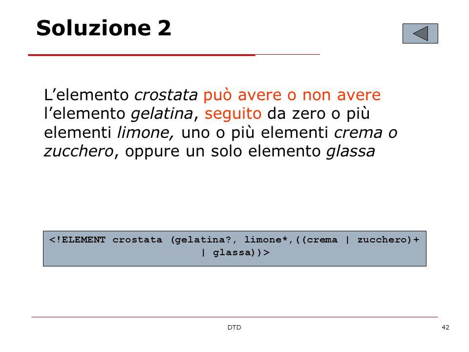 DTD42 Soluzione 2 Lelemento crostata può avere o non avere lelemento gelatina, seguito da zero o più elementi limone, uno o più elementi crema o zucchero, oppure un solo elemento glassa