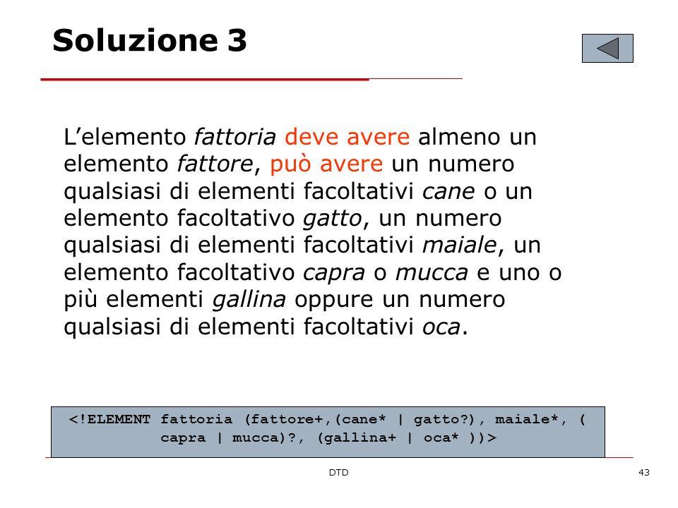 DTD43 Soluzione 3 Lelemento fattoria deve avere almeno un elemento fattore, può avere un numero qualsiasi di elementi facoltativi cane o un elemento f
