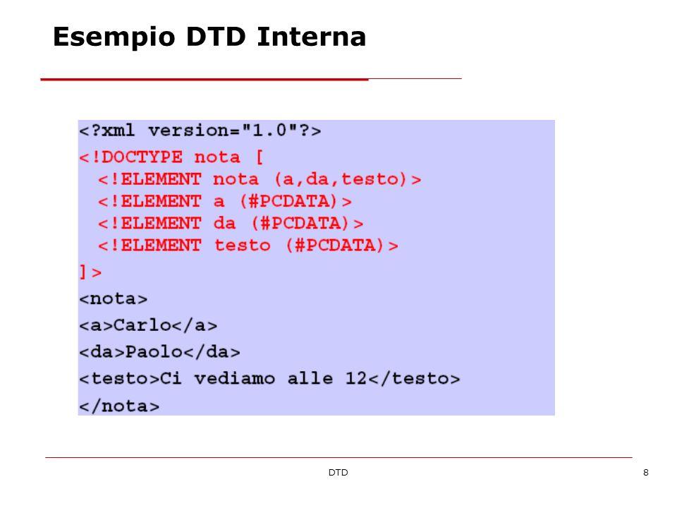 DTD29 Entità parametriche (I) Sono entità definite nel DTD ed utilizzate allinterno del DTD stesso Vengono sostituite durante la lettura del DTD Contengono frammenti ricorrenti del modello di contenuto Es: volendo definire in un unico punto il tipo di testo che contiene sezioni in grassetto: