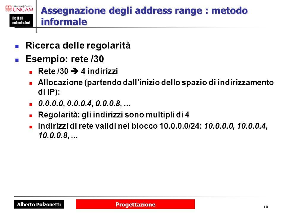 Alberto Polzonetti Reti di calcolatori Progettazione 10 Assegnazione degli address range : metodo informale Ricerca delle regolarità Esempio: rete /30