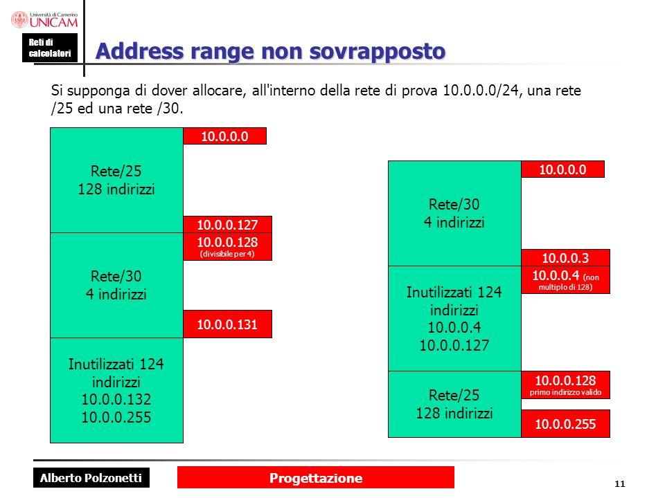 Alberto Polzonetti Reti di calcolatori Progettazione 11 Address range non sovrapposto Si supponga di dover allocare, all'interno della rete di prova 1