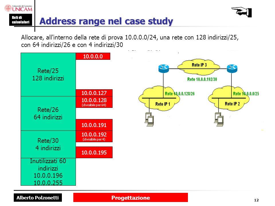 Alberto Polzonetti Reti di calcolatori Progettazione 12 Address range nel case study Allocare, all'interno della rete di prova 10.0.0.0/24, una rete c