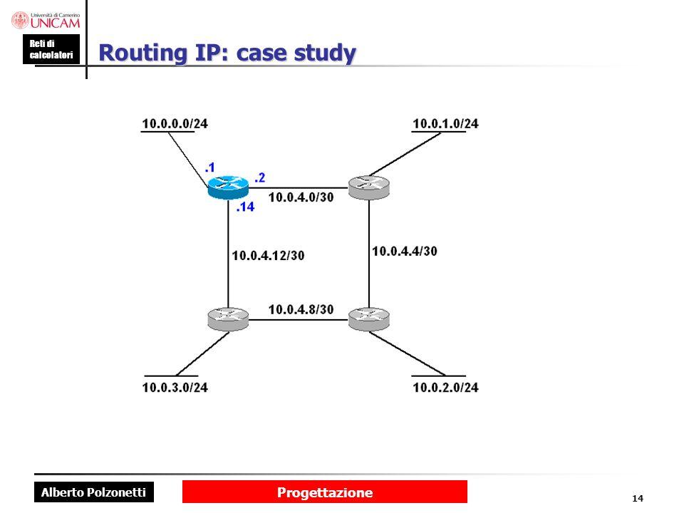Alberto Polzonetti Reti di calcolatori Progettazione 14 Routing IP: case study