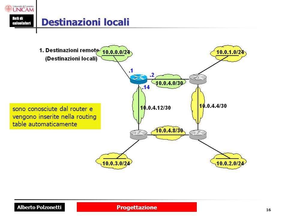 Alberto Polzonetti Reti di calcolatori Progettazione 16 Destinazioni locali sono conosciute dal router e vengono inserite nella routing table automati