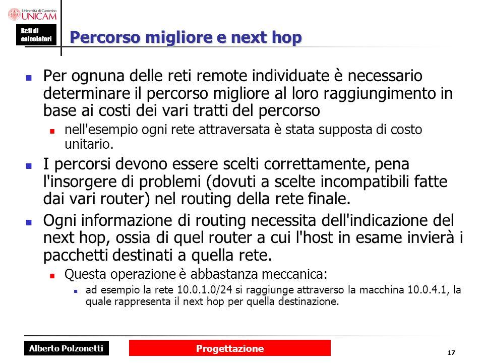 Alberto Polzonetti Reti di calcolatori Progettazione 17 Percorso migliore e next hop Per ognuna delle reti remote individuate è necessario determinare