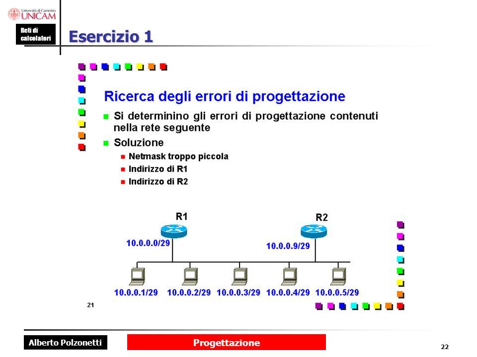 Alberto Polzonetti Reti di calcolatori Progettazione 22 Esercizio 1