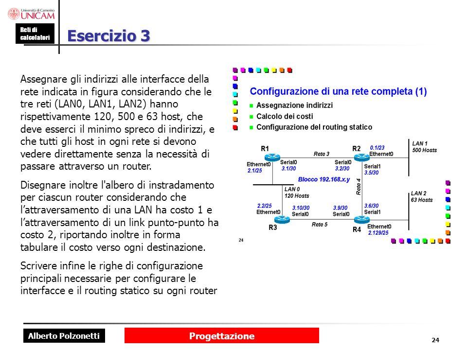 Alberto Polzonetti Reti di calcolatori Progettazione 24 Esercizio 3 Assegnare gli indirizzi alle interfacce della rete indicata in figura considerando