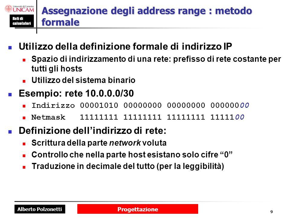 Alberto Polzonetti Reti di calcolatori Progettazione 9 Assegnazione degli address range : metodo formale Utilizzo della definizione formale di indiriz