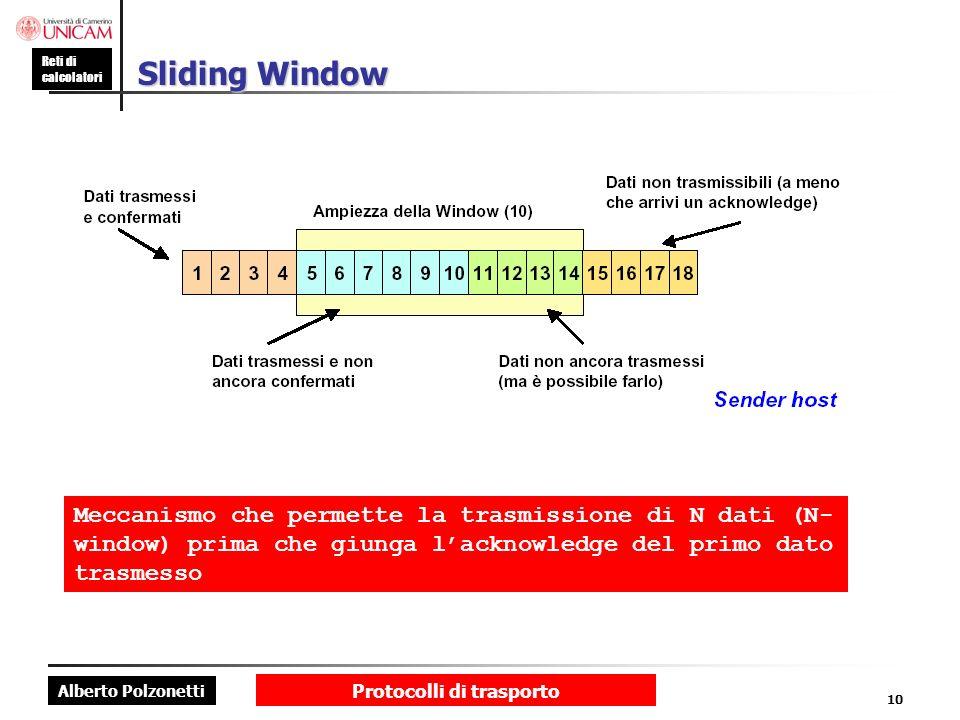 Alberto Polzonetti Reti di calcolatori Protocolli di trasporto 10 Sliding Window Meccanismo che permette la trasmissione di N dati (N- window) prima c