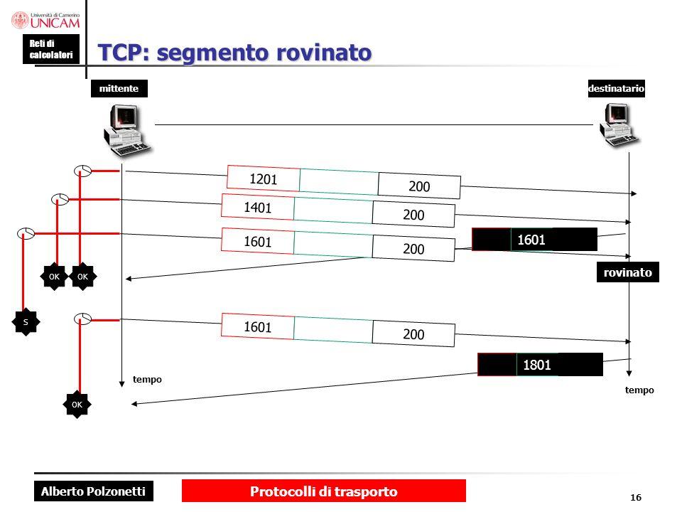 Alberto Polzonetti Reti di calcolatori Protocolli di trasporto 16 TCP: segmento rovinato mittentedestinatario tempo 1801 1201 200 1401 200 1601 200 16