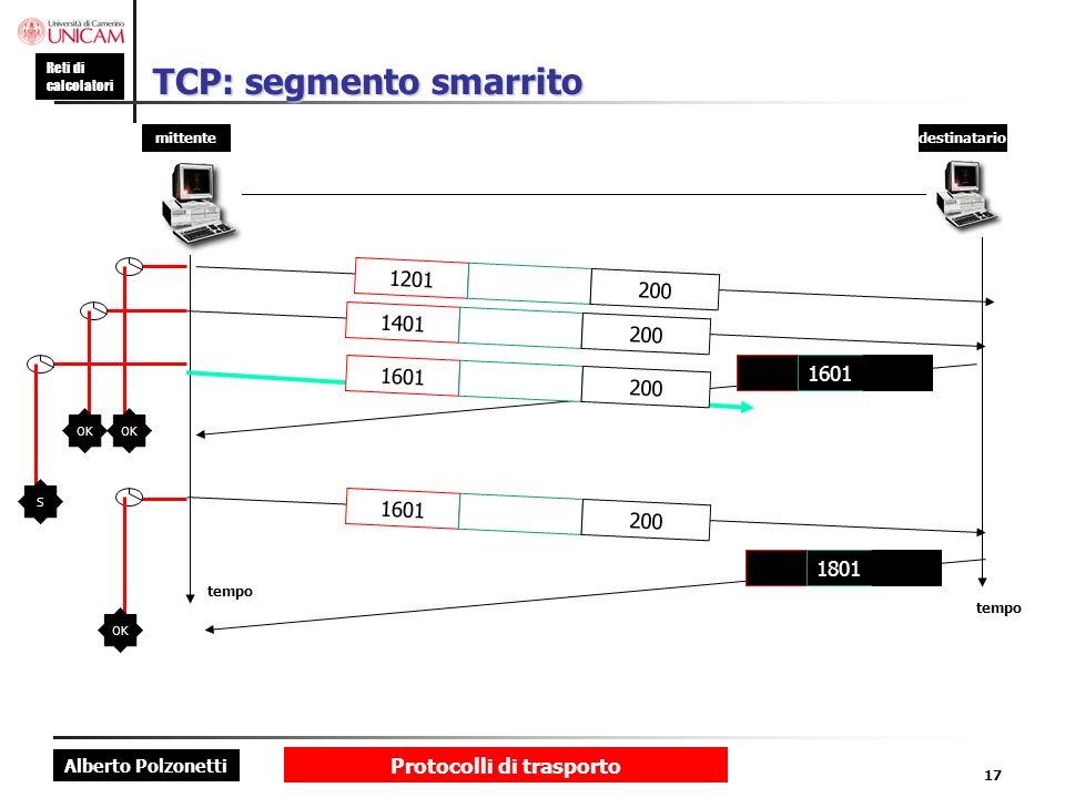 Alberto Polzonetti Reti di calcolatori Protocolli di trasporto 17 TCP: segmento smarrito mittentedestinatario tempo 1801 1201 200 1401 200 1601 200 16