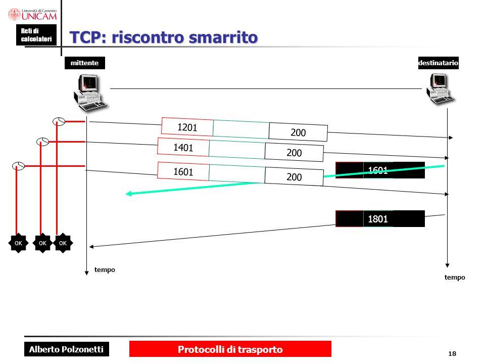 Alberto Polzonetti Reti di calcolatori Protocolli di trasporto 18 TCP: riscontro smarrito mittentedestinatario tempo 1801 1201 200 1401 200 1601 200 O