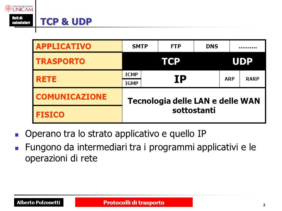 Alberto Polzonetti Reti di calcolatori Protocolli di trasporto 2 TCP & UDP Operano tra lo strato applicativo e quello IP Fungono da intermediari tra i