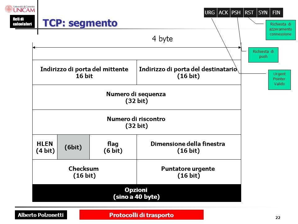 Alberto Polzonetti Reti di calcolatori Protocolli di trasporto 22 TCP: segmento Dimensione della finestra (16 bit) flag (6 bit) 4 byte Numero di seque