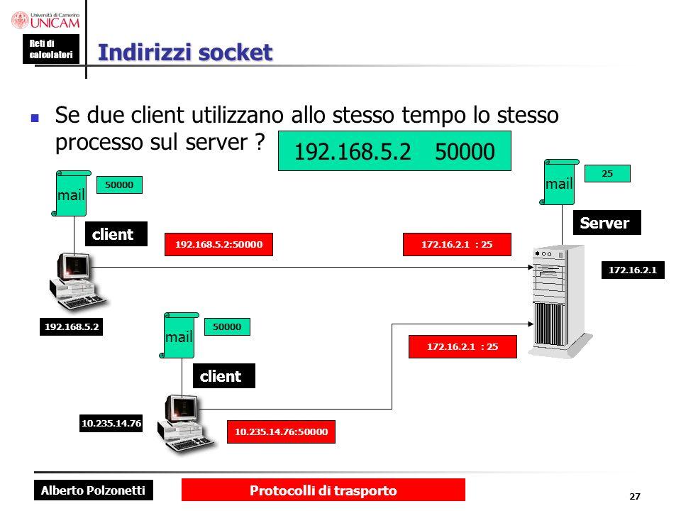 Alberto Polzonetti Reti di calcolatori Protocolli di trasporto 27 Indirizzi socket Se due client utilizzano allo stesso tempo lo stesso processo sul s