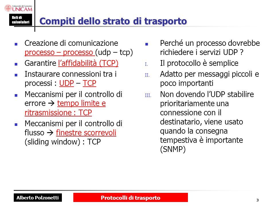 Alberto Polzonetti Reti di calcolatori Protocolli di trasporto 3 Compiti dello strato di trasporto Creazione di comunicazione processo – processo (udp