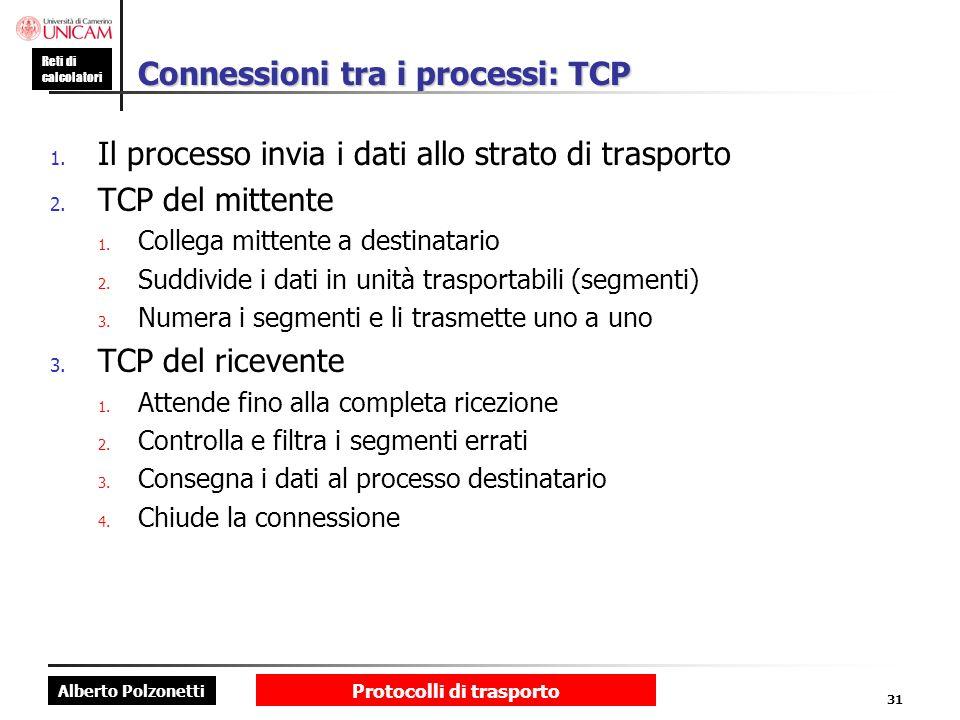 Alberto Polzonetti Reti di calcolatori Protocolli di trasporto 31 Connessioni tra i processi: TCP 1. Il processo invia i dati allo strato di trasporto