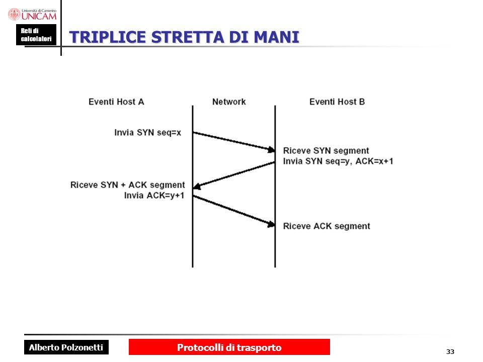 Alberto Polzonetti Reti di calcolatori Protocolli di trasporto 33 TRIPLICE STRETTA DI MANI