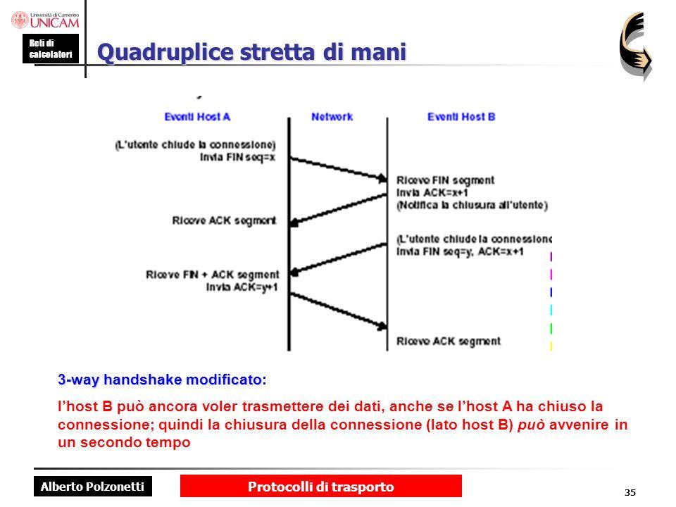 Alberto Polzonetti Reti di calcolatori Protocolli di trasporto 35 Quadruplice stretta di mani 3-way handshake modificato 3-way handshake modificato: l