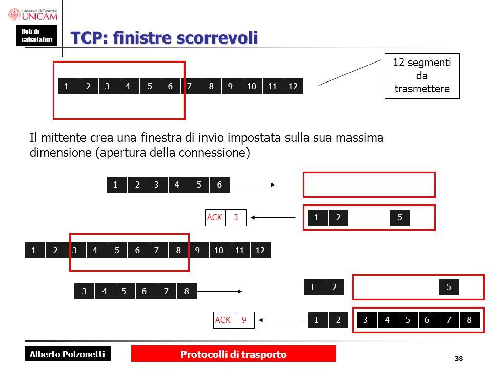 Alberto Polzonetti Reti di calcolatori Protocolli di trasporto 38 TCP: finistre scorrevoli 123456789101112 Il mittente crea una finestra di invio impo