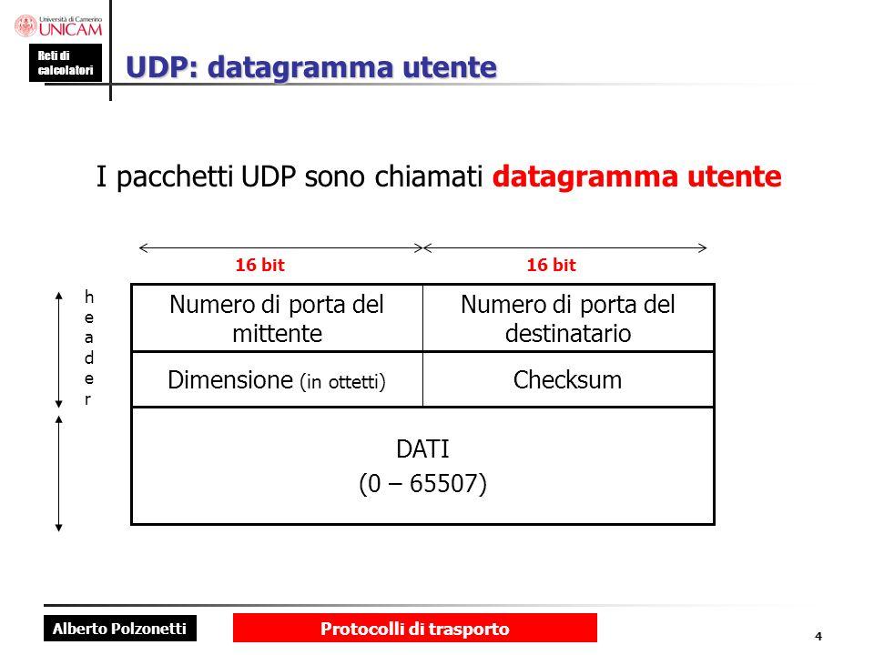 Alberto Polzonetti Reti di calcolatori Protocolli di trasporto 4 UDP: datagramma utente I pacchetti UDP sono chiamati datagramma utente DATI (0 – 6550