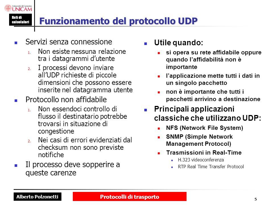 Alberto Polzonetti Reti di calcolatori Protocolli di trasporto 5 Funzionamento del protocollo UDP Servizi senza connessione 1. Non esiste nessuna rela