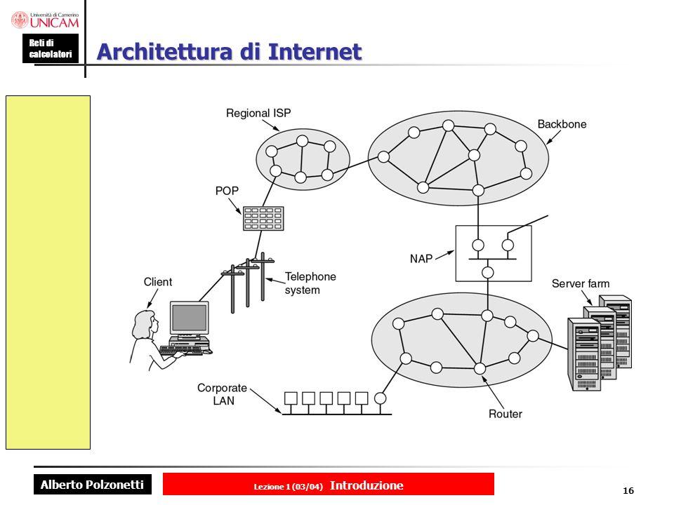 Alberto Polzonetti Reti di calcolatori Lezione 1 (03/04) Introduzione 16 Architettura di Internet