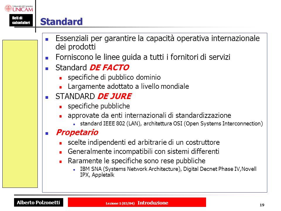 Alberto Polzonetti Reti di calcolatori Lezione 1 (03/04) Introduzione 19 Standard Essenziali per garantire la capacità operativa internazionale dei prodotti Forniscono le linee guida a tutti i fornitori di servizi Standard DE FACTO specifiche di pubblico dominio Largamente adottato a livello mondiale STANDARD DE JURE specifiche pubbliche approvate da enti internazionali di standardizzazione standard IEEE 802 (LAN), architettura OSI (Open Systems Interconnection) Propetario scelte indipendenti ed arbitrarie di un costruttore Generalmente incompatibili con sistemi differenti Raramente le specifiche sono rese pubbliche IBM SNA (Systems Network Architecture), Digital Decnet Phase IV,Novell IPX, Appletalk