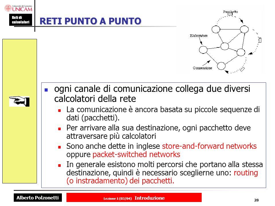 Alberto Polzonetti Reti di calcolatori Lezione 1 (03/04) Introduzione 28 RETI PUNTO A PUNTO ogni canale di comunicazione collega due diversi calcolatori della rete La comunicazione è ancora basata su piccole sequenze di dati (pacchetti).