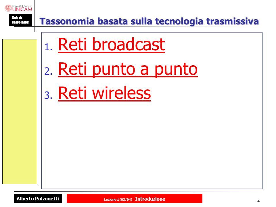 Alberto Polzonetti Reti di calcolatori Lezione 1 (03/04) Introduzione 4 Tassonomia basata sulla tecnologia trasmissiva 1.