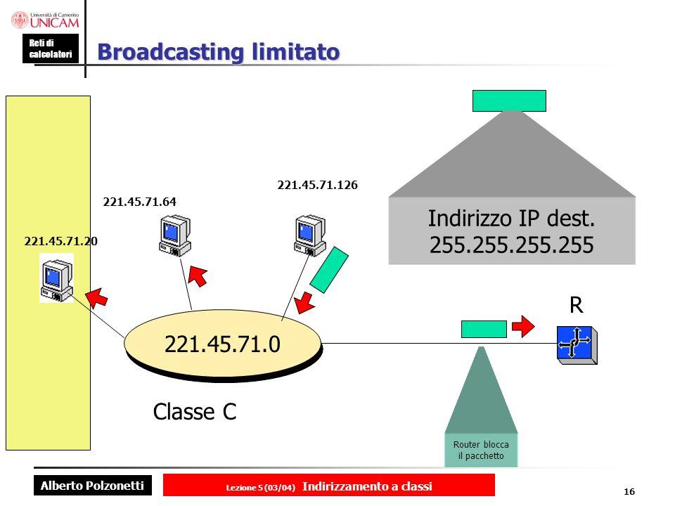 Alberto Polzonetti Reti di calcolatori Lezione 5 (03/04) Indirizzamento a classi 16 Broadcasting limitato 221.45.71.0 221.45.71.20 221.45.71.64 221.45.71.126 R Classe C Indirizzo IP dest.
