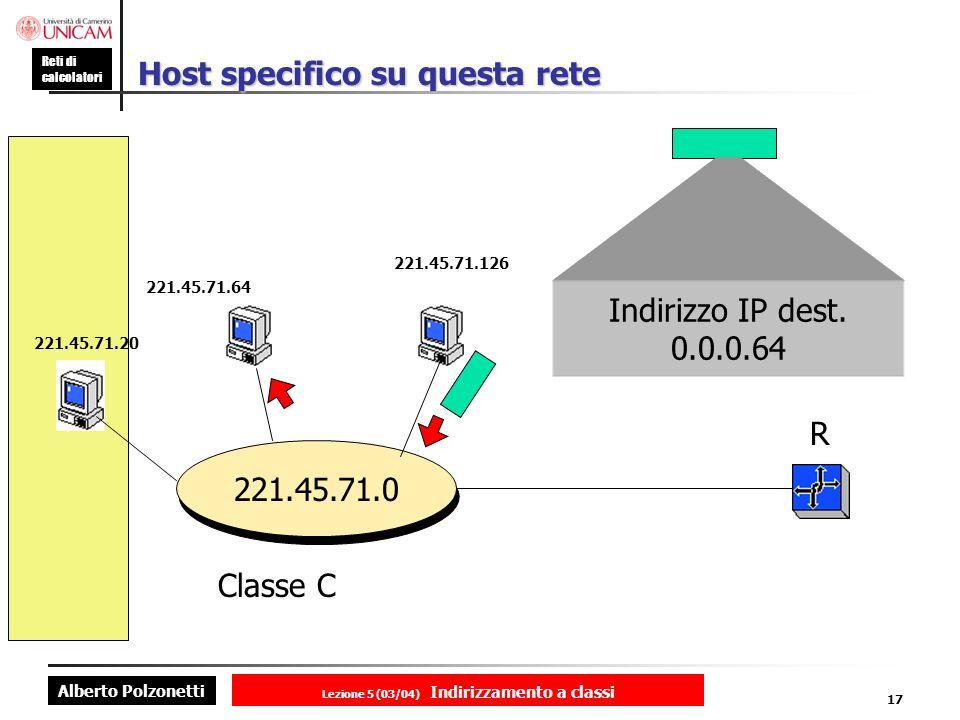Alberto Polzonetti Reti di calcolatori Lezione 5 (03/04) Indirizzamento a classi 17 Host specifico su questa rete 221.45.71.0 221.45.71.20 221.45.71.64 221.45.71.126 R Classe C Indirizzo IP dest.