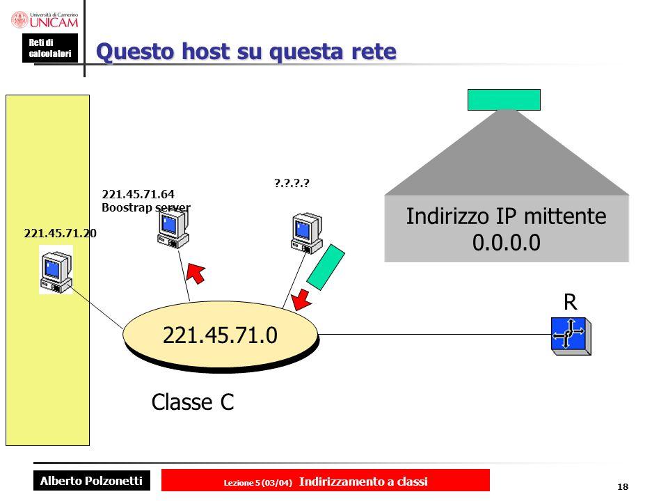 Alberto Polzonetti Reti di calcolatori Lezione 5 (03/04) Indirizzamento a classi 18 Questo host su questa rete ?.?.?.? R 221.45.71.0 221.45.71.20 221.