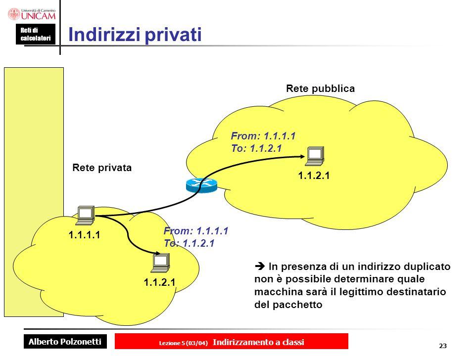 Alberto Polzonetti Reti di calcolatori Lezione 5 (03/04) Indirizzamento a classi 23 Indirizzi privati 1.1.1.1 1.1.2.1 Rete privata Rete pubblica 1.1.2