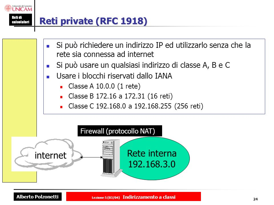 Alberto Polzonetti Reti di calcolatori Lezione 5 (03/04) Indirizzamento a classi 24 Reti private (RFC 1918) Si può richiedere un indirizzo IP ed utili